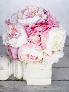 Silk Bride Bouquet Peony Pink Cream Purple Rhinestones Pearls Shabby Chic Wedding Decor. $125.00, via Etsy.