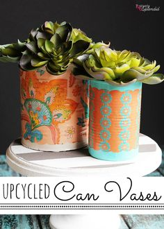 A craft tutorial for how to make Mod Podge can vases with Mod Podge, empty aluminum cans, and decorative tissue paper. A green upcycle project!