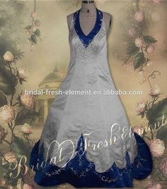Source Hot Sale Factory Custom Made Long Good Quality Satin Halter V-neck Embroidery Royal Blue And White Wedding Dresses on m.alibaba.com