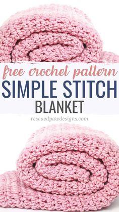 Crochet Blanket Pattern - Easy Crochet Pattern for Beginners Free crochet pattern simple stitch crochet blanket by Rescued Paw Designs Crochet Blanket Tutorial, Easy Crochet Blanket, Crochet For Beginners Blanket, Beginner Crochet Blankets, Crochet Blanket Stitches, Free Crochet Patterns For Beginners, Crochet Baby Blanket Free Pattern, Crochet Throws, Chevron Blanket