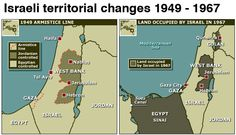 The 1967 Israeli-Arab War that set today's borders. These three maps (click the expand icon to see the third) show how those 1948 borders became what they are today. The map on left shows the Palestinian territories of Gaza, which was under Egyptian control, and the West Bank, under Jordanian control. In 1967, Israel fought a war with Egypt, Jordan, and Syria. The war ended with Israel occupying both of the Palestinian territories, plus the Golan Heights in Syria and Egypt's Sinai peninsula.