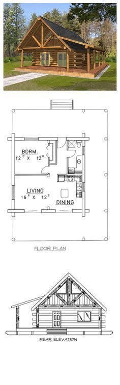 Log Home Plan 87050 - Total Living Area: 689 sq. Log Home Plans, Cabin Floor Plans, Small House Plans, Tiny Cabins, Cabins And Cottages, Log Cabins, Little Cabin, Little Houses, Log Cabin Homes