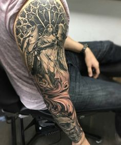 Best Sleeve Tattoo Ideas For Guys - Best Tattoo Ideas For Men: Cool Badass Tattoos For Guys - Awesome Designs Badass Sleeve Tattoos, Angel Sleeve Tattoo, Tattoos For Guys Badass, Half Sleeve Tattoos For Guys, Half Sleeve Tattoos Designs, Full Sleeve Tattoos, Tattoo Designs Men, Tattoo Life, Tattoo Girls