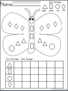 Students practice shape recognition and graphing with this free butterfly themed worksheet.  It's perfect for spring and gardening units.
