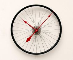 Recycled Bike Wheel Clock by pixelthis on Etsy, $119.00
