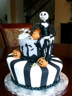 "Nightmare Before Christmas Nightmare Before Christmas Sculpted frm 9-10"" rounds, and 5-6"" rounds, covered in fondant w/ gumpste Jack and pumpkins, and dog... #jack-skellington #nightmare-before-christmas-jack-skellington #nightmarebeforechristmas #cakecentral"