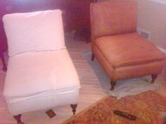 Horrible picture taken with outdated camera phone.  Loved my white chairs but with 2 kids under th age of 5, two dogs, and two cats, these lasted for about a month.  So before making new slipcovers I stained them with coffee first.  Not bad for now.