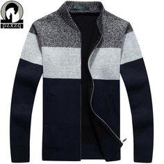 Fashion Cardigan Men's Sweaters Warm Winter Sweater Men Turtleneck Causal Cardigan zipper Male Sweater Brand Clothing Plus size #Affiliate
