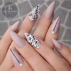 Fake Nails Way To Do Stiletto Nails Matte Violet ❤️ Best Stiletto Nails Designs Ideas Tips For You❤️ See more: naildesignsjourna. Fancy Nails, Bling Nails, Bling Bling, Nude Nails, Coffin Nails, Acrylic Nails, Matte Nails, Gorgeous Nails, Pretty Nails