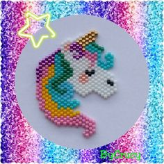 Peyote delicate bead rainbow unicorn