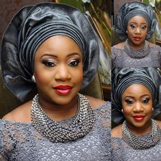 From banksbmpro's photo: I absolutely loved this Aso-abi colors. #greymonotone. #goodbride. #yaaaayyforthebride! And the quality of the aso oke is rich too. No hard ear cutting fabric there. Like the fact she kept everything monotone. #bmpromakeup and #demilade@bmpro gray silver Nigerian wedding bride jewelry necklace gele