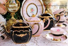 tea sets, European black and pink traditional patterns