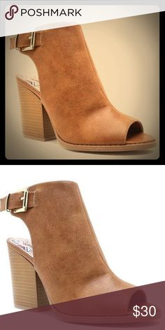 Tan Open Toe Leatger Shoetie Bootie Great color, gorgeous for fall,  with gold buckle detail and wooden chunky heel. Qupid Shoes Ankle Boots & Booties