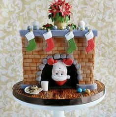 Christmas cake- Santa Clause,  fireplace,  milk and cookies :)