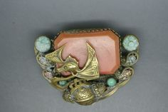 Vintage Czech Neiger Art Deco enamel chinese theme dragon dress clip