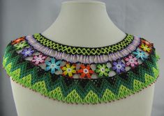 A Taste of Ecuador by Luckysammy on Etsy Ecuador, Crochet T Shirts, Crochet Blouse, Collars, Tigers Eye Necklace, Beaded Collar, Shell Necklaces, Bead Crafts, Beading Patterns