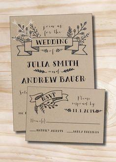 Faire-part de mariage Kraft rustique et carte-réponse imprimés ensemble d'échantillons  Comprend 1 Invitation imprimée 5 x 7 avec enveloppe de coordination 1 carte imprimée 5x3.5 avec enveloppe de coordination