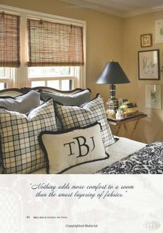 """From """"Nell Hill's Rooms We Love"""" by Mary Carol Garrity, releasing October 2013 Master Bedroom Redo, Dream Bedroom, Home Bedroom, Bedroom Decor, Bedroom Ideas, Awesome Bedrooms, Beautiful Bedrooms, The Napping House, Plaid Decor"""