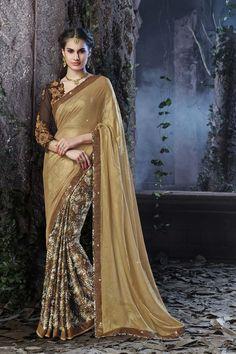 Buy Golden Shimmer Designer Saree Online in low price at Variation. Huge collection of Designer Sarees for Wedding. #designer #designersarees #sarees #onlineshopping #latest #lowprice #variation. To see more - https://www.variationfashion.com/collections/designer-sarees
