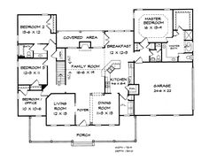 Charleston house plan 98215 floor plan traditional for Southfork ranch house plans