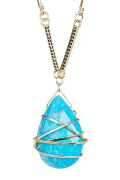 Turquoise Long Wrapped Pendant Necklace by Sapanyu on @HauteLook