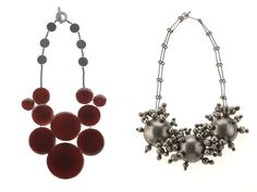 Daniel Kruger, (left) Untitled, 2011, necklace, enamel, copper, sterling silver, center piece: 159 x 165 x 6 mm; (right) Untitled, 2003, necklace, sterling silver, central piece: 216 x 152 x 32 mm, photo: John White