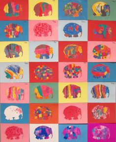 Elmer Class Patchwork Crafts Elmer The Elephants Kindergarten Animal Projects, Animal Crafts, Art Projects, Preschool Art, Preschool Activities, Elmer The Elephants, Kindergarten Art Lessons, Shape Crafts, Elephant Art