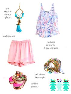 aros aqua + muscu corta de gasa estampada + pack pulseras + short de seda rosa pastel + sandalias pisco.