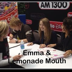 My daughter meeting the cast of Lemonade mouth. Which they also are casts of other shows...Good Luck Charlie, Zeke & Luther and Wizards of Waverly Place. It made her smile big :)