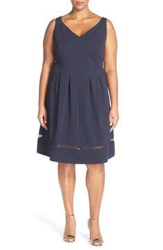 Taylor Dresses Piqué Knit Fit & Flare Dress (Plus Size) available at #Nordstrom