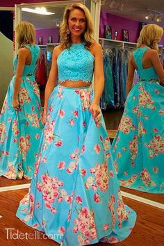 2016 blue two-piece prom dresses, floral printed prom dresses