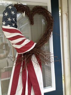 Always in my Heart * Patriotic Flag Draped Grapevine Wreath * She's a Grand Old Flag * USA Proud * Red, White & Blue * DIY Inspiration! * 4th of July Fab!