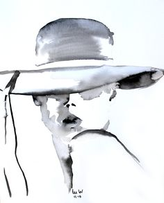 Ink and wash on paper  Source image; Fashiongonerogue, Malgosia Bela.  'Lady in Hat'  Lee Woodman 2010