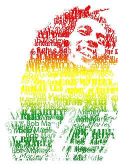 Bob Marley picture I edited on Photoshop<3  Started out as a normal photo of him, and I edited in the words and the Rasta color gradient(: