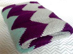 Crochet Baby Blanket Chevron Baby Blanket by HookYarnAndHooper
