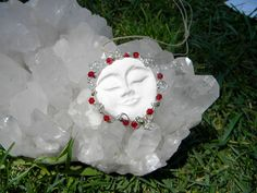 Essential Oil Jewelry in Moonface with Red Swarovski by Krystalins, $20.00