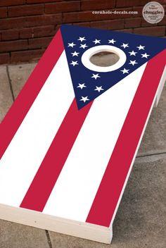 Custom Corn Hole Ohio State Wavy Flag Graphic Cornhole Boards