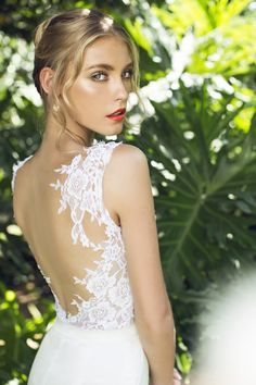 gorgeous illusion lace back detail wedding dress