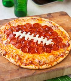 Super Bowl yummy party food - Football Pepperoni Pizza