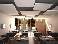 Rockfon Eclipse is an innovative and aesthetically pleasing, frameless acoustic island.