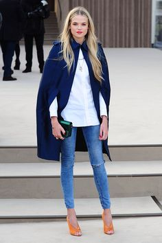street style - blue coat and blue denim - white long shirt - orange heels