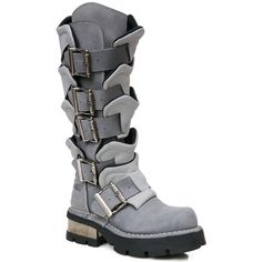 Burning Man New Rock Valhalla Armor Buckle Boots (€375) ❤ liked on Polyvore featuring shoes, boots, rock boots, buckle boots, new rock boots, new rock shoes and rock shoes