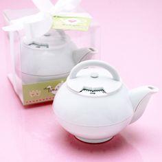 Mini White Teapot Timer Favor - Tea Time Theme Wedding Favors - Wedding Favor Themes - Wedding Favors & Party Supplies - Favors and Flowers
