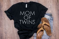 Mom of TWINS Boho T Shirt Mothers Day Gift for Mom Gift Minimalist TShirts With Sayings Twin Mama Bear Expecting Mom Gift Vintage Inspired by 25VintagePlace