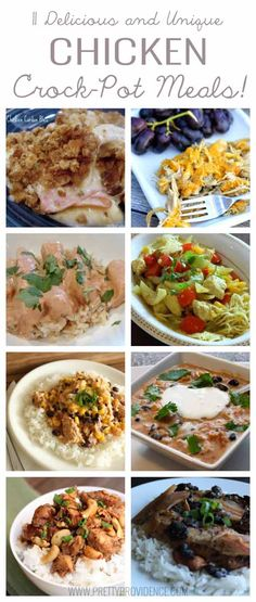 11 delicious and unique chicken crock-pot meals! Anything to make chicken taste flavorful and different is a WIN with me!
