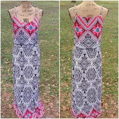 Gorgeous Maxi Dress by Cato This gorgeous maxi dress has chain straps with cloth accenting braided through it, a rounded neckline, elastic waist for comfort, and is in excellent like new condition.  Additional information to be added later. Cato Dresses Maxi