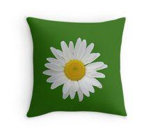 Daisy on dark green background Throw Pillow