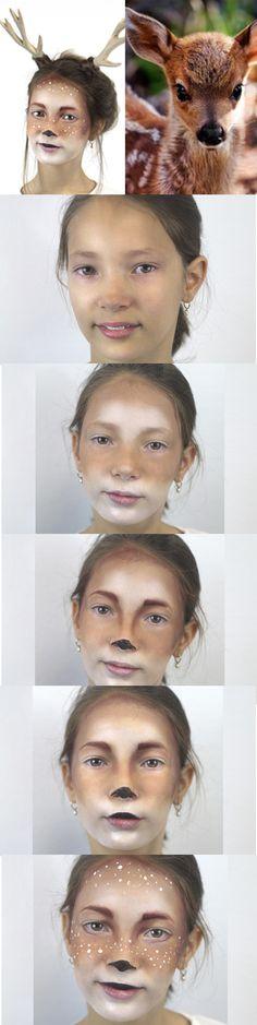 Un tutoriel simple et efficace pour réaliser un maquillage de biche à votre enfant pour le Carnaval, Halloween ou toute autre fête costumée !
