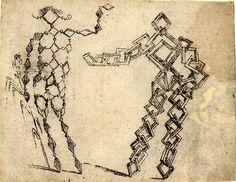Giovanni Battista Braccelli: Bizzarie di varie figure ... 1624. Plate 23: two figures composed of diamond shapes
