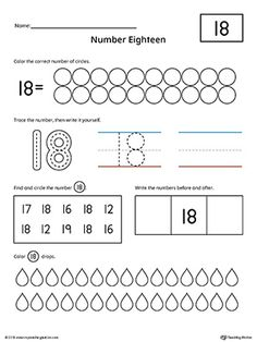 Number 18 Practice Worksheet Worksheet.Help your child practice counting, identifying, tracing, and writing number 1 with this printable worksheet.